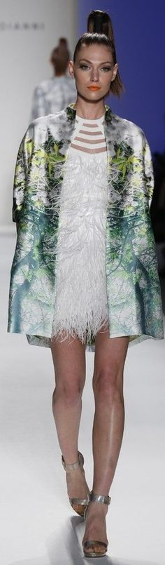 Joanna Mastroianni RTW Spring 2014 white feather dress with flower graphic print silk jacket