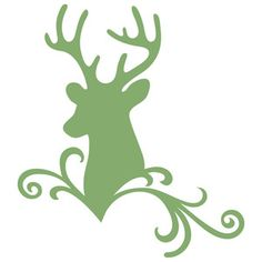 Silhouette Design Store: deer flourish scroll