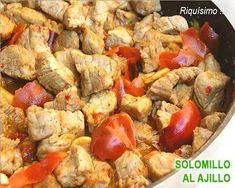 solomillo de cerdo al ajillo Queso Mozzarella, A3, Pork, Food And Drink, Keto, Chicken, Cooking, Mini, Savory Snacks