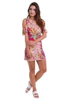 1297a37ecb O vestido curto estampado rosa da Manola é confeccionado em viscolycra. O  vestido apresenta