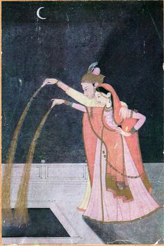 A royal couple celebrates with fireworks under a crescent moon. Indian Prints, Indian Art, Traditional Paintings, Traditional Art, Mughal Miniature Paintings, Oriental, India Painting, History Of India, Book Of Hours