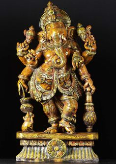 """View the Standing Ganesh Wood Statue 36"""""""