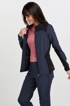 The Barco One Wellness Sleek Neckline Zen Scrub Jackets is made with stretch fabric and roomy pockets. Scrub Jackets, Sports Uniforms, Dialysis, 4 Way Stretch Fabric, Scrub Pants, Caregiver, Scrubs, Fashion Forward, Neckline