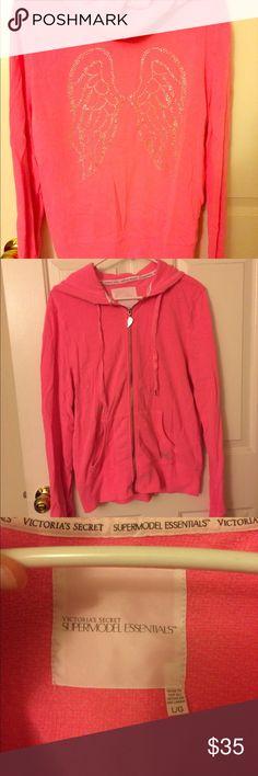 VS rhinestone zip hoodie Pink Victoria's Secret zip hoodie with rhinestone angel wings on back PINK Victoria's Secret Tops Sweatshirts & Hoodies