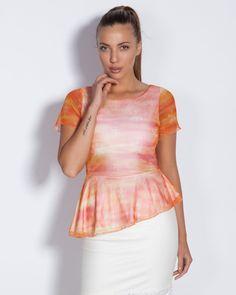 Дамска блуза в оранжево - Body #Ефреа #online #онлайн #пазаруване #дрехи #блуза #късръкав #тюл #оранжево