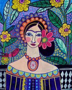 Cartel lámina de arte popular mexicano por Heather Galler arte popular mexicano Frida Kahlo (HG626)