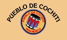 To represent the Cochiti Pueblo, the Tribe is believed to use a light yellow or buff colored flag bearing the tribal seal in the center and the Pueblo's name in Spanish.