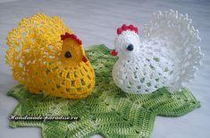 How to crochet chicken - Handmade-Paradise Easter Crochet Patterns, Crochet Doilies, Crochet Animals, Crochet Toys, Crochet Chicken, Crochet Disney, Diy Ostern, Beautiful Crochet, Holiday Ornaments