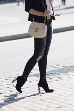 A London Diary wearing Dolce and Gabbana Embellished Boots, 7 For All mankind Ripped Jeans, River Island Lacey Blouse, ASOS Black Textured Blazer, Chloe Arctic White Drew Bag, Celine New Audrey