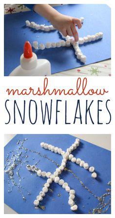 Marshmallow snowflakes - super fun winter craft for kids.