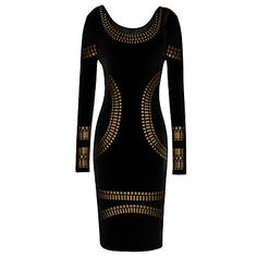 VICONE Women's Long Sleeve Round Collar Slim Pencil Dresses – EUR € 14.99