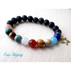 Solar System Jewelry Space Bracelet, Sun and Moon Bracelet, Galaxy... ($28) ❤ liked on Polyvore featuring jewelry, bracelets, beaded jewelry, bead jewellery, cosmic jewelry, beading jewelry and star bangle