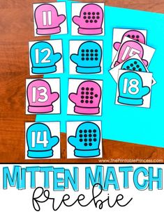 Mitten Match FREEBIE is a hands-on, interactive way for students to practice numbers 11 - Kindergarten Freebies, Numbers Kindergarten, Kindergarten Centers, Preschool Math, Math Centers, Early Finishers Kindergarten, Math Stations, Winter Activities, Preschool Activities