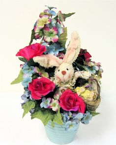 Simple spring centerpieces floral arrangement bunny and easter easter bunny arrangement spring easter silk floral centerpiece bunny patch collectionenter coupon code shipfree at ck out mightylinksfo
