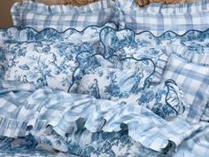 Bringing a fresh new approach to plaid, refreshing 300 thread count pure Egyptian cotton sateen combines a bold and beautiful pattern with soft and. Toile Bedding, Floral Bedding, Blue Bedding, Blue And White Bedding, Blue And White Fabric, Barn Bedrooms, Cottage Bedrooms, Ashley Blue, French Country Bedrooms
