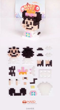 Cute Mini mouse I need to try this. Perler Bead Templates, Diy Perler Beads, Perler Bead Art, Melty Bead Patterns, Hama Beads Patterns, Beading Patterns, Hamma Beads 3d, Pearler Beads, Pony Bead Projects
