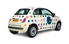 Our now infamous spotty Sarah Kenny Fiat 500!