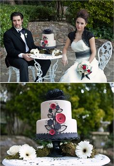 redblack, black weddings, wedding ideas, wedding cakes, white weddings, white cakes, black white red, red wedding, red black