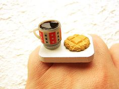 Coffee Ring Miniature  Food Jewelry Coffee And by SouZouCreations, $6.00
