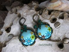 Antique flower polymer clay earrings, polymer clay jewelry