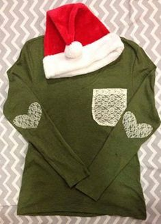 LOVE THIS!!!  Long Sleeve Vneck Lace Pocket with hearts by StellaRoseMonograms, $24.00