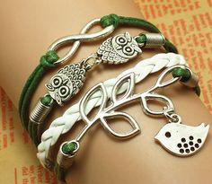 Infinityowlsleaf charm bracelet green cords white von yourzon