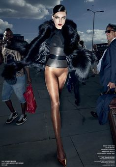 Andreea Diaconu in Alexander McQueen coat, Saint Laurent by Hedi Slimane, and Alaia belt by Sølve Sundsbø for V Magazine Fall 2014