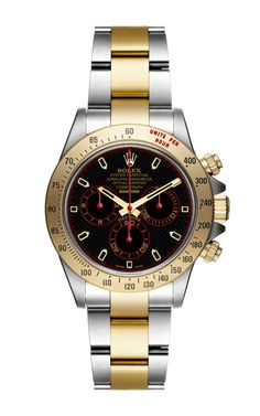 Bi-colour Super Matte Magnetic Steel And Gold Red Black And Gold Dial Daytona by Bamford Watch Department for Preorder on Moda Operandi