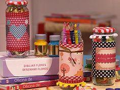 Enfeite de vidros com botões, tecido, sianinha, desenhos, reciclagem de vidros de maionese ou similares