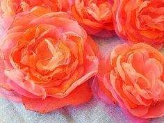 organza, tulle flowers  unusual color combos...pretty!