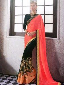 Shop Half and half navy beige wedding wear smoke georgette sari online from G3fashion India. Brand - G3, Product code - G3-WSA16222, Price - 5495, Color - Beige, Navy, Fabric - Net, Smoke Georgette,