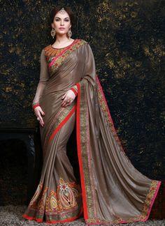 Excellent Banarasi Silk Brown Zari Work Designer Saree | Whats Up No. +918238311448 |   http://www.ethnicnx.com/sarees/excellent-banarasi-silk-brown-zari-work-designer-saree-7273
