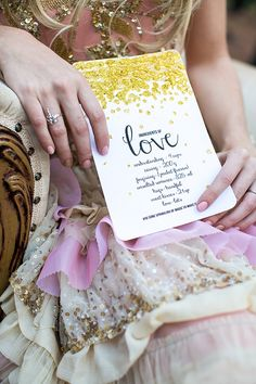 Beautiful Gold, Pink and Coral Wedding Inspiration invitation glitter