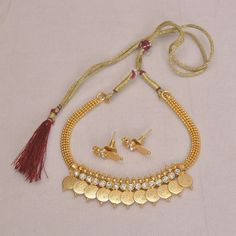 Golden Color With Temple Coin Necklace
