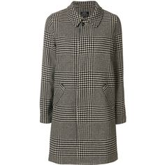 A.P.C. houndstooth checked coat (1.770 BRL) ❤ liked on Polyvore featuring outerwear, coats, houndstooth coat, hounds tooth coat and a p c coat