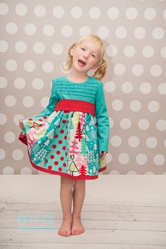Girls and Toddler Long Sleeved T-shirt Holiday Dress or Topper with Strip Paneled Skirt on Etsy, $40.00