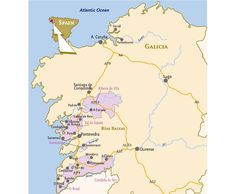 Wine Maps. The North Western corner of  Spain, Galicia, Rias Baixas. Moraima vineyards are located at Val do Salnés
