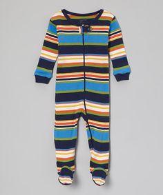 Look what I found on #zulily! Blue Stripe Footie - Infant, Toddler & Boys by Leveret #zulilyfinds