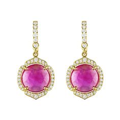 Penny Preville Round Pink Sapphire Drop Earring