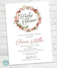 Baby Shower Invitation Bridal Shower Elegant Baby by FlairandPaper