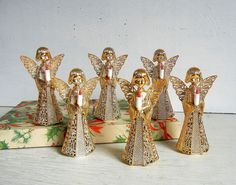 Mid Century Vintage Christmas Gold Filigree Angel Ornaments