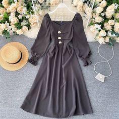 Color : Black, Dark Grey, Khaki, Brow Material : Polyester, Acrylic Style : Casual Pattern Type : Solid Neckline : V-Neck The post Elegant Korean Sleeve V Neck Solid A-line Fashion Streetwear Midi Long Dresses appeared first on TD Mercado.