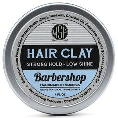 Hair Clay (Barbershop) 4 oz Natural Wax Based Pomade by WSP Hair Wax For Men, Hair Clay, Greasy Hair Hairstyles, Hair Pomade, Shaving Soap, Beard Balm, Hair Gel, Barber Shop, Shea Butter