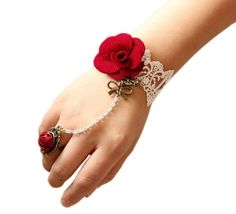 Vintage Lace Red Flower Ribbon Pendant Bracelet Ring Jewelry Set