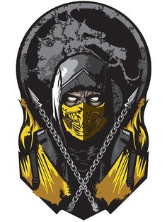 """Scorpion Mortal Kombat"" Stickers by Alienbiker23   Redbubble @espinsitrino"