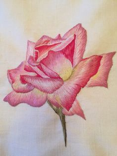 Hand Embroidery Flowers, Embroidery Suits, Embroidery Patterns, Knitting Patterns, Drawing Art, Art Drawings, Long And Short Stitch, Thread Painting, Montages