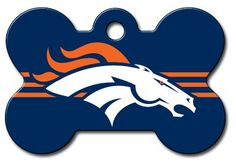 Personalized Laser Engraved 1.5 x 1 inch Denver Broncos Bone Shape Pet ID Tag - Free Tag Silencer ** Special dog product just for you. See it now! : Dog tags for pets