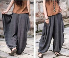 women harem pants linen wide leg pants linen harem by customsize, $69.00