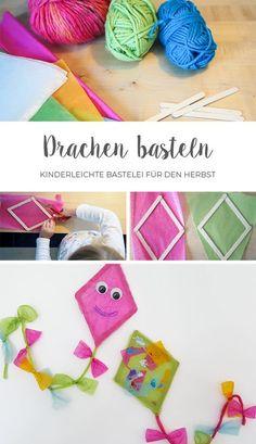 Making a kite // Window decoration for autumn- Drachen basteln // Fensterdeko für den Herbst Making kites together with children and the whole … - Fall Crafts For Kids, Diy For Kids, Kids Crafts, Easy Crafts, Diy And Crafts, Craft Projects, Arts And Crafts, Paper Crafts, Craft Ideas