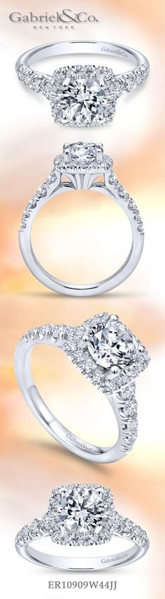 Gabriel & Co. - Voted #1 Most Preferred Fine Jewelry and Bridal Brand.  Meet Beckett - The Bold and beautiful 14k White Gold Round Halo Engagement Ring created to brighten your center stone.